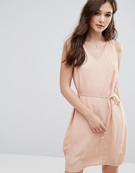 Vila V Neck Sleeveless Shift Dress Rugby Tan Brown