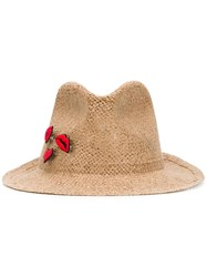 Ermanno Scervino Patch Detail Woven Hat Brown