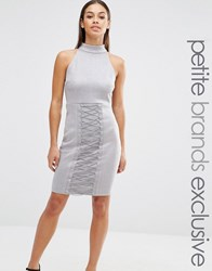 Naanaa Petite High Neck Lace Up Pencil Dress Grey Blue
