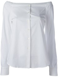 Theory Off Shoulder Shirt White