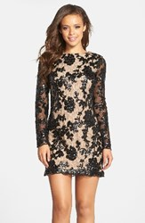Dress The Population Women's 'Grace' Sequin Lace Long Sleeve Shift Black