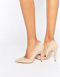 Lipsy Lacey Rivet Heeled Court Shoes Beige