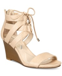 Alfani Women's Karlii Lace Up Wedge Sandals Only At Macy's Women's Shoes Cashew