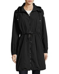 Moncler Tuile Long Hooded Drawstring Jacket Black