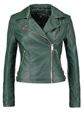 Miss Selfridge Faux Leather Jacket Dark Green