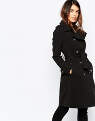 Warehouse Double Breasted Trench Coat Black