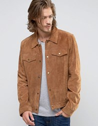 Asos Suede Western Jacket In Tan Tan