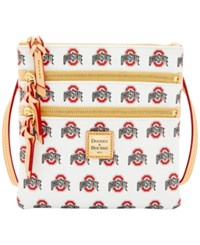 Dooney And Bourke Ohio State Buckeyes Triple Zip Crossbody Bag White