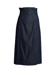 Tibi Paperbag Waist Denim Midi Skirt Navy