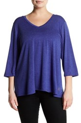 The Balance Collection V Neck 3 4 Sleeve Tee Plus Size Blue