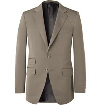 Tom Ford Army Green O'connor Slim Fit Cotton And Silk Blend Suit Jacket Green