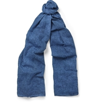 Our Legacy Cotton And Linen Blend Scarf Blue