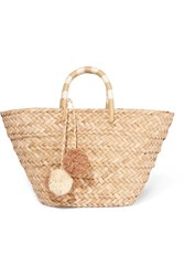 Kayu St Tropez Pompom Embellished Woven Seagrass Tote Beige