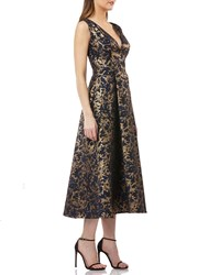 Kay Unger New York Pleated Fit And Flare Midi Cocktail Dress W Pockets Navygold