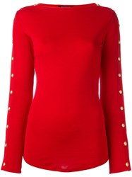 Balmain Button Sleeve Pullover Red