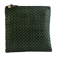Clare V. Foldover Clutch Bag Black And Green Woven Zig Zag
