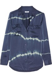 Equipment Slim Signature Tie Dyed Washed Silk Shirt Storm Blue