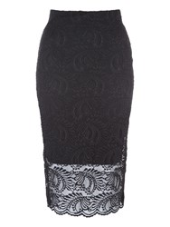 Jane Norman Lace Midi Pencil Skirt Black