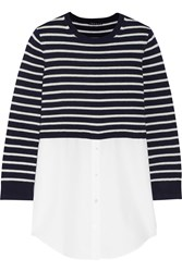 Theory Rymalia Paneled Striped Cotton And Cashmere Blend Top Blue