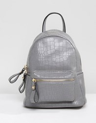 Qupid Mock Croc Mini Backpack Grey