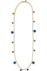 Tory Burch Winslow Gold Tone Bead Necklace Blue