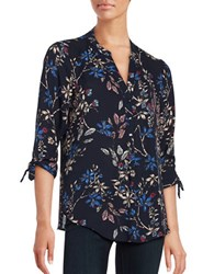Ivanka Trump Floral Three Quarter Sleeve Blouse Navy Arctic