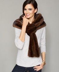 The Fur Vault Pull Though Mink Fur Stole Scanbrown