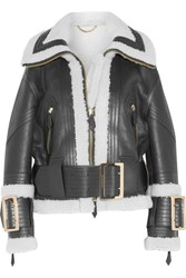 Burberry Leather Trimmed Shearling Jacket Black