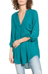 Lush Women's Perfect Roll Tab Sleeve Tunic Everglade
