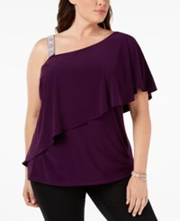 Msk Plus Size Embellished Strap Asymmetrical Top Luxe Plum
