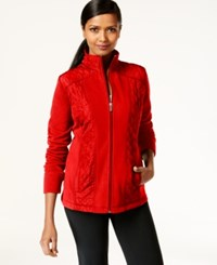Styleandco. Style And Co. Sport Petite Mixed Media Zip Up Track Jacket Only At Macy's New Red Amore