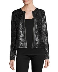 P. Luca Floral Print Vegan Leather Jacket Black