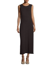 Joan Vass New York Sleeveless Scoop Neck Side Slit Maxi Dress Black