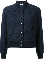 Muveil Lace Bomber Jacket Blue