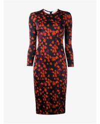 Givenchy Floral Print Long Sleeve Dress Black Red