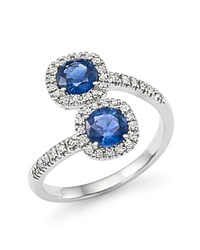 Bloomingdale's Diamond And Sapphire Two Stone Halo Wrap Ring In 14K White Gold White Blue