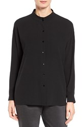 Eileen Fisher Women's Silk Georgette Crepe Stand Collar Blouse Black