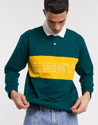 Obey Ignite Classic Long Sleeve Polo In Green