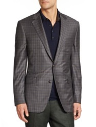 Saks Fifth Avenue Samuelsohn Checked Wool Sportcoat Grey Multi