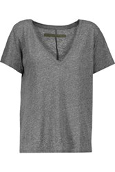 Enza Costa Marled Stretch Jersey T Shirt Anthracite