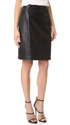 Wgaca Alaia Leather Skirt Previously Owned Black