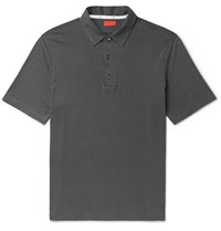 Isaia Silk And Cotton Blend Jersey Polo Shirt Gray