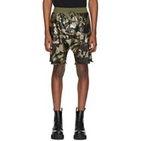 R 13 R13 Green Camouflage Sequin Harem Shorts