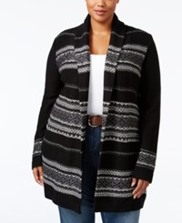 Styleandco. Style Co. Plus Size Jacquard Open Cardigan Only At Macy's Deep Black Combo