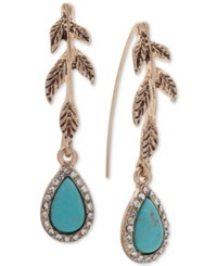 Lonna And Lilly Gold Tone Pave Colored Stone Leaf Drop Earrings Turquoise
