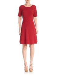 Lafayette 148 New York Seamed Fit And Flare Dress Ruby Red