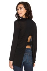 Lanston Open Back Long Sleeve Top Black