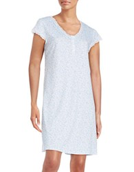 Miss Elaine Paisley V Neck Nightgown Blue Floral