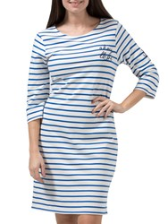 Sugarhill Boutique Brighton 'Ahoy There' Embroidered Dress White Mid Blue