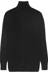 Cushnie Et Ochs Paneled Ribbed Merino Wool Turtleneck Sweater Black